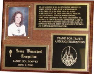503 - Young Womanhood Recognition Plaque